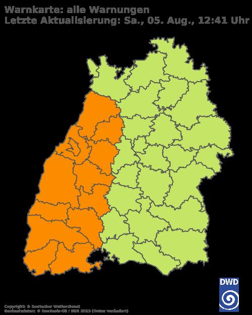 Aktuelle Wetterwarnungen für Sigmaringen